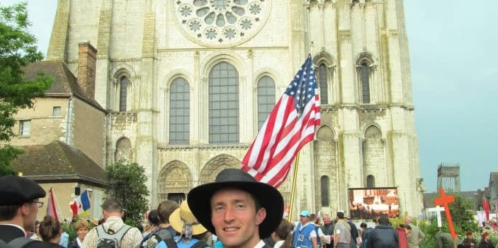"""Chartres Pilgrimage – Chartres Cathedral – Recessional Hymn Chez Nous: """"Be with us. Be our queen. We are yours."""""""